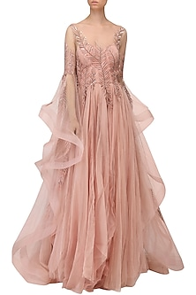 Rose Embroidered Asymmetrical Drape Sleeves Gown by Naffs