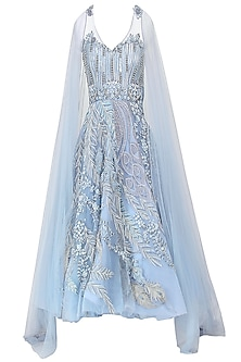 Pastel Blue Embroidered Trail Sleeves Gown by Naffs