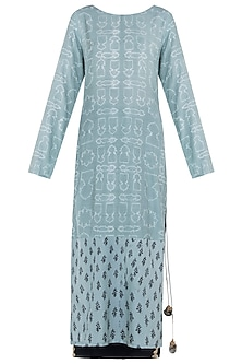 Mineral blue printed kurta with pants