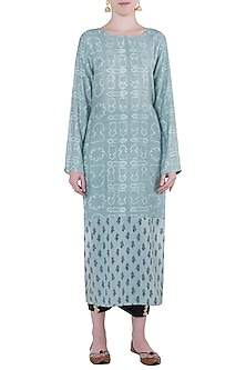 Mineral blue printed kurta with pants by Natasha J