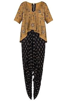 Mustard embroidered top with dhoti pants by Natasha J