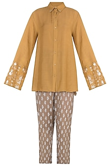 Mustard embroidered shirt and pants by Natasha J