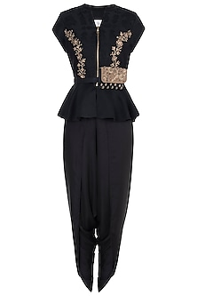 Black embroidered peplum blouse with pants