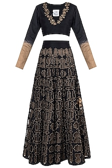 Black embroidered lehenga set by Natasha J
