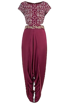 Raspberry embroidered tie dye dhoti jumpsuit