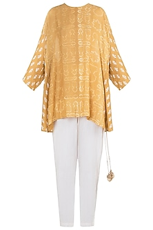 Mustard printed tunic with pants by Natasha J