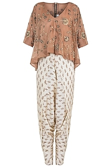 Beige embroidered top with dhoti pants