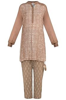 Beige printed pajama suit