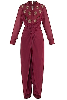 Raspberry embroidered dhoti jumpsuit