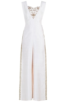 Off white embroidered jumpsuit set