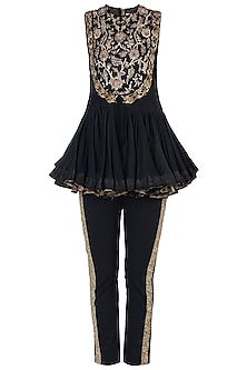 Black embroidered jumpsuit set