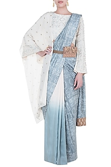 Mineral blue embroidered saree set by Natasha J