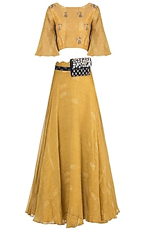 Mustard embroidered printed skirt with crop top and kamarbandh