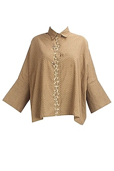 Beige printed floral embroidered loose fitted top by Natasha J
