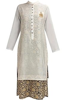 Off white floral embroidered chanderi two layered kurta by Natasha J