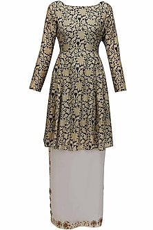 Black and gold floral work two layered dress