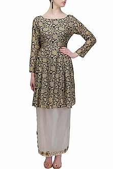 Black and gold floral work two layered dress by Natasha J