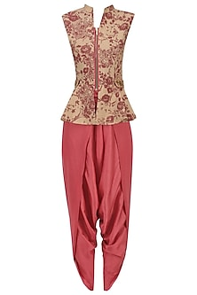 Beige and Red Mesh Print Peplum Top with Dhoti Pants Set