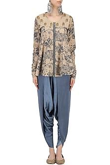 Grey and Blue Mesh Print Flared Top with Dhoti Pants Set by Natasha J