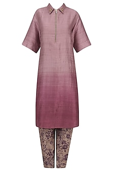 Purple Short Kurta with Mesh Print Pants