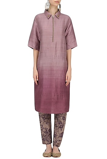Purple Short Kurta with Mesh Print Pants by Natasha J