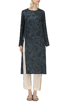 Teal Mesh Print Kurta with Off White Pants by Natasha J