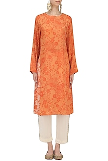 Orange Mesh Print Kurta with Off White Pants by Natasha J