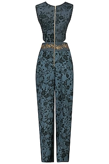 Teal Embroidered Mesh Print Jumpsuit