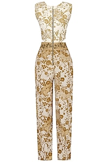 Off White and Beige Embroidered Mesh Print Jumpsuit