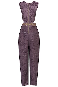 Purple Embroidered Mesh Print Jumpsuit