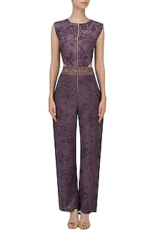 Purple Embroidered Mesh Print Jumpsuit by Natasha J