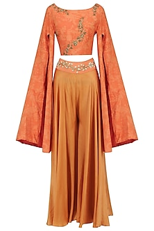 Orange Mesh Print Crop Top with Embroidered Palazzo Pants