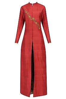 Red Embroidered Jacket Kurta with Mesh Print Pants