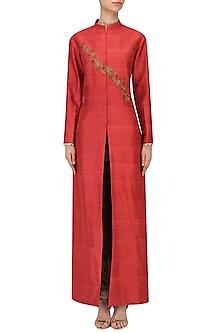 Red Embroidered Jacket Kurta with Mesh Print Pants by Natasha J
