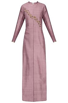Purple Embroidered Jacket Kurta with Grey Mesh Print Pants