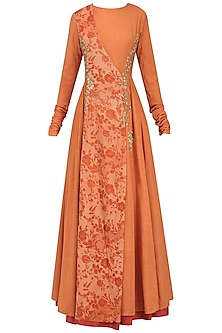 Orange Embroidered Mesh Print Angrakha Anarkali by Natasha J