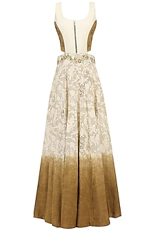 Off White and Beige Embroidered Mesh Print Gown by Natasha J