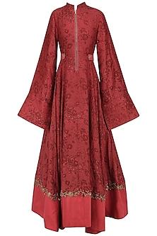 Red Embroidered Mesh Print Anarkali by Natasha J