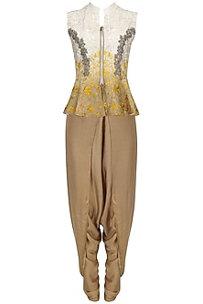 Beige To Mustard Ombred Peplum with Dhoti Pants Set