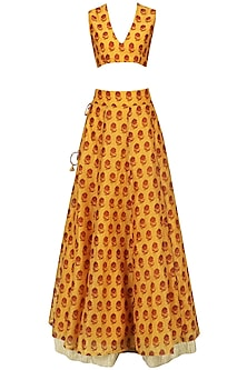 Mustard Floral Printed Lehenga with Blouse and White Shirt