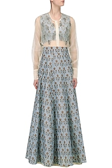 Ash Blue Floral Printed Lehenga with Blouse and White Shirt by Natasha J