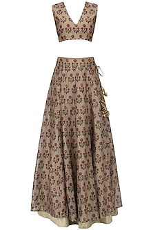 Beige Floral Printed Lehenga with Blouse and White Shirt