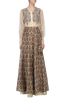 Beige Floral Printed Lehenga with Blouse and White Shirt by Natasha J