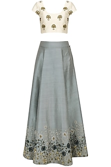 White And Ash Blue Embroidered Lehenga Set by Natasha J