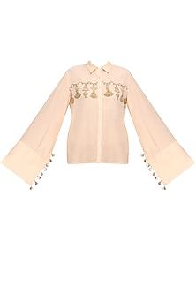 Pink and Gold Block Print Tassel Shirt by Natasha J