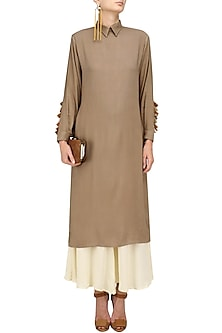 Beige Tassel Hanging Straight Kurta with Palazzo Set by Natasha J