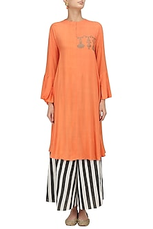Orange and Gold Block Print Kurta with Striped Palazzo Set by Natasha J