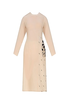Off White and Blue Floral Embroidered Straight Kurta by Natasha J