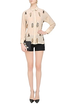 Off White Button Down Floral Embroidered Motifs Shirt by Natasha J
