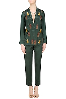 Green Floral Embroidered Motifs Shirt and Pants Set by Natasha J